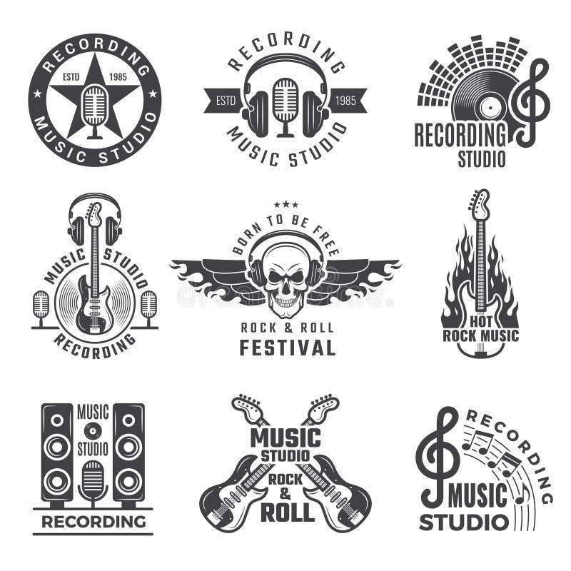 Ετικέτες μουσικής Τα μεγάλα τύμπανα ομιλητών μικροφώνων και οι διανυσματικά εικόνες και τα λογότυπα ακουστικών για τη μουσική κατ διανυσματική απεικόνιση