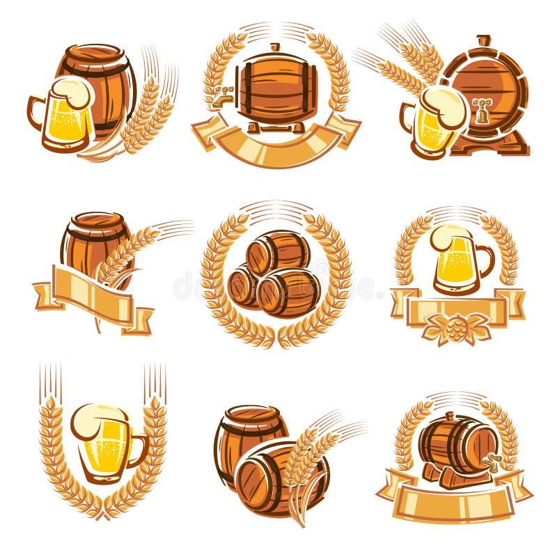 Ετικέτες μπύρας καθορισμένες διάνυσμα απεικόνιση αποθεμάτων