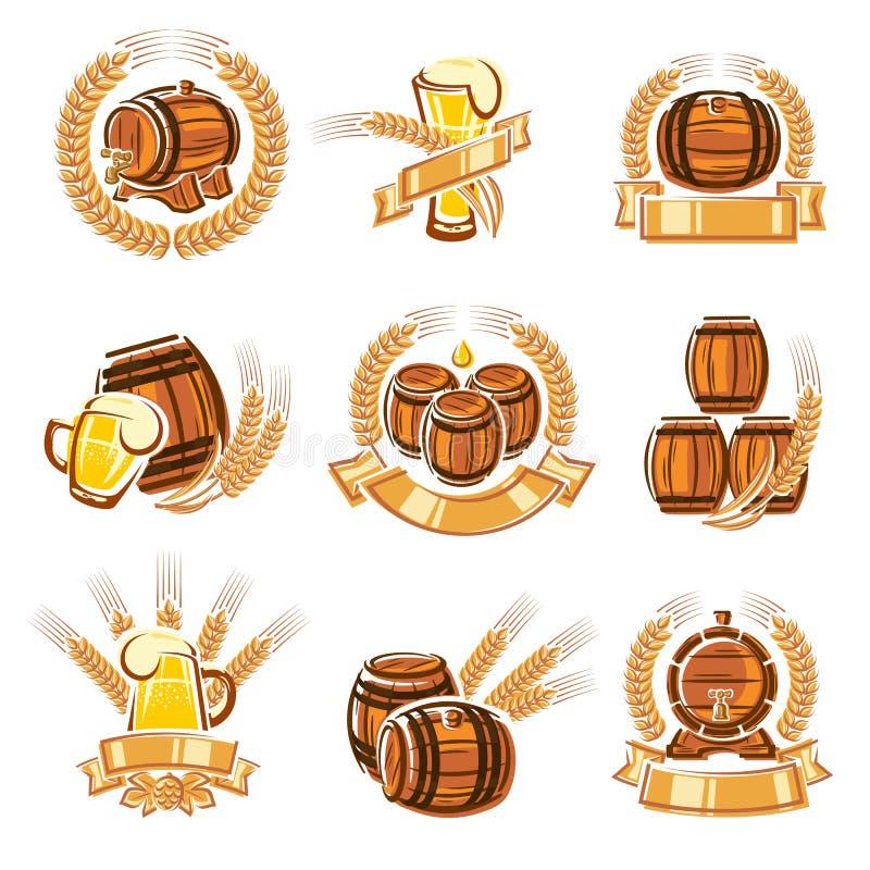 Ετικέτες μπύρας καθορισμένες διάνυσμα διανυσματική απεικόνιση