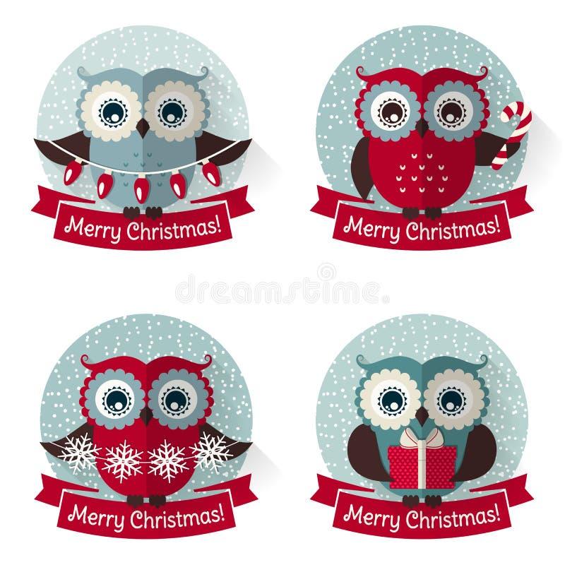 Ετικέτες Χριστουγέννων με τις κουκουβάγιες και τις κορδέλλες πολικό καθορισμένο διάνυσμα καρδιών κινούμενων σχεδίων απεικόνιση αποθεμάτων