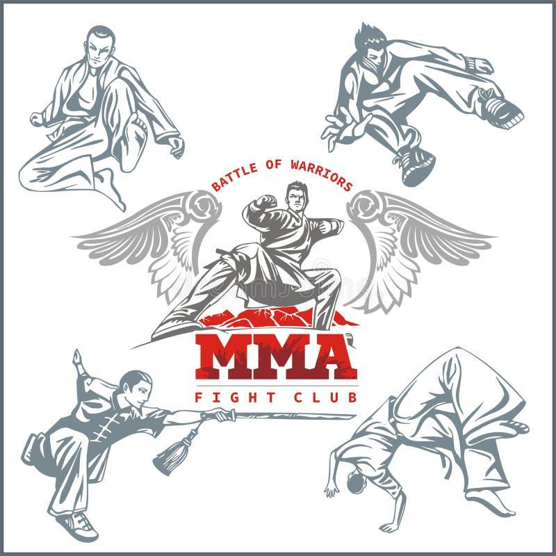 Ετικέτες MMA - μικτό διάνυσμα σχέδιο πολεμικών τεχνών ελεύθερη απεικόνιση δικαιώματος