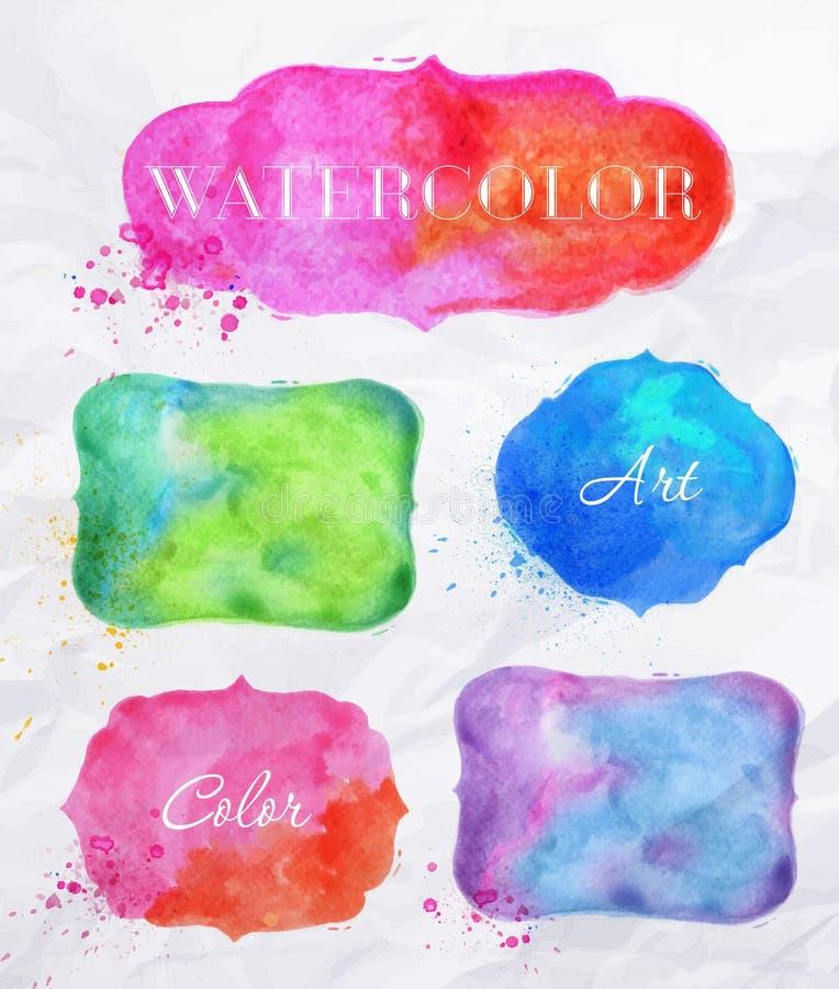 Ετικέτες Watercolor διανυσματική απεικόνιση