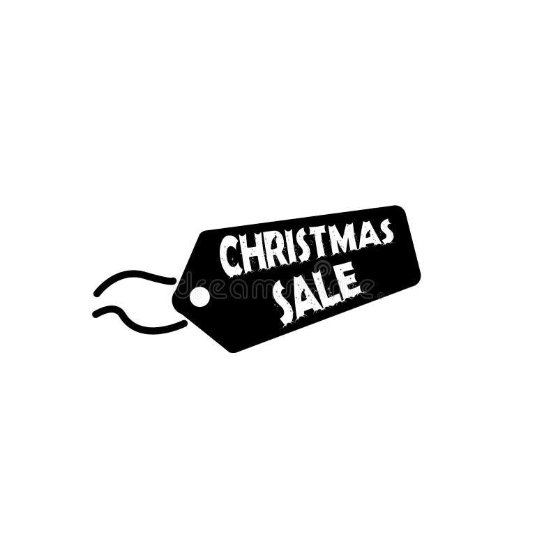 Ετικέττα ή ετικέτα με το εικονίδιο πώλησης Χριστουγέννων, διανυσματικό σύμβολο έκπτωσης απεικόνιση αποθεμάτων