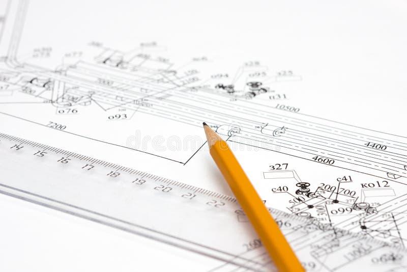 ετικέττα μολυβιών γραμμών σχεδίων κίτρινη στοκ εικόνα
