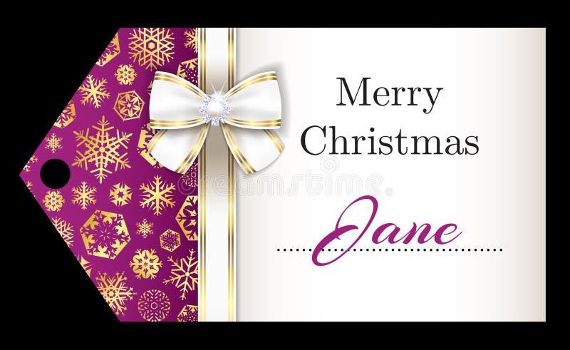 Ετικέττα ονόματος Χριστουγέννων πολυτέλειας με χρυσά snowflakes α διανυσματική απεικόνιση