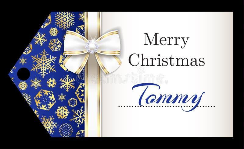 Ετικέττα ονόματος Χριστουγέννων πολυτέλειας με χρυσά snowflakes α απεικόνιση αποθεμάτων