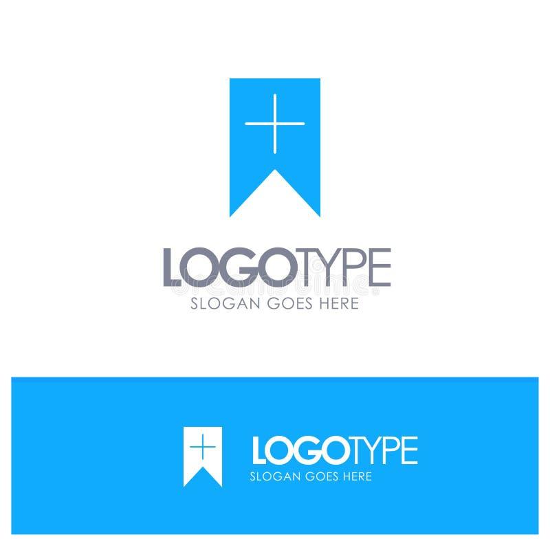 Ετικέττα, συν, διεπαφή, μπλε στερεό λογότυπο χρηστών με τη θέση για το tagline ελεύθερη απεικόνιση δικαιώματος