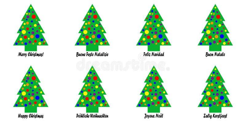 Ετικέττες ή αυτοκόλλητες ετικέττες χριστουγεννιάτικων δέντρων ελεύθερη απεικόνιση δικαιώματος