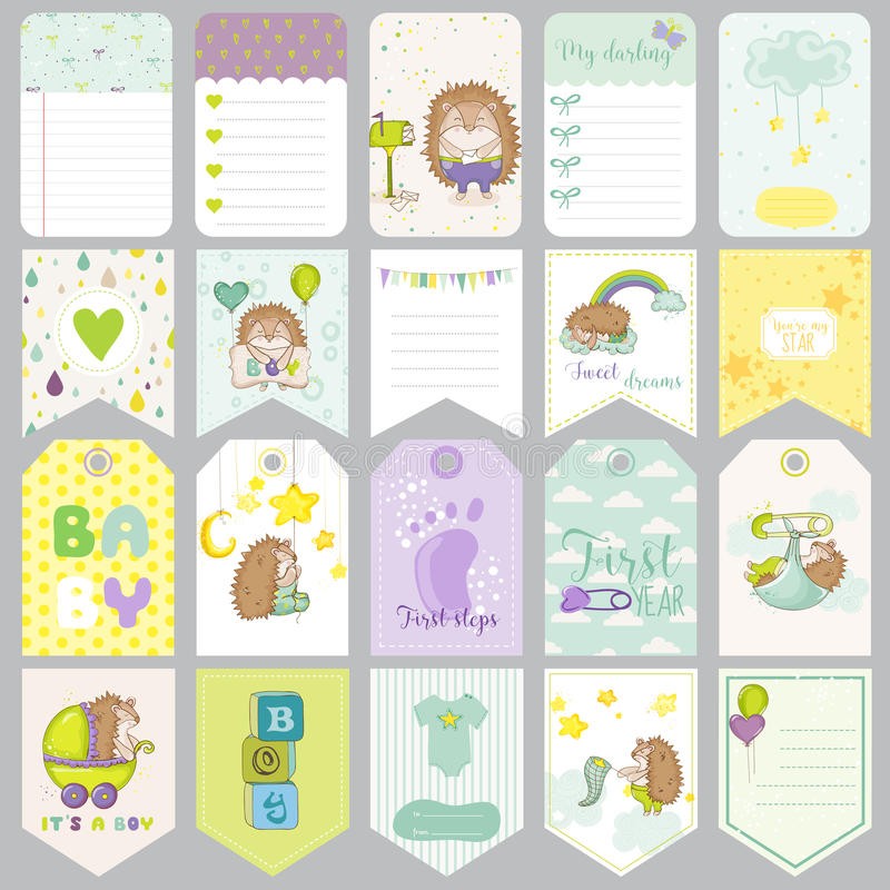 Ετικέττες αγοράκι Εμβλήματα μωρών Ετικέτες λευκώματος αποκομμάτων Χαριτωμένες κάρτες ελεύθερη απεικόνιση δικαιώματος