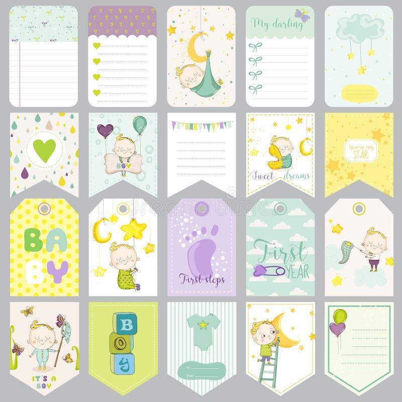 Ετικέττες αγοράκι Εμβλήματα μωρών Ετικέτες λευκώματος αποκομμάτων Χαριτωμένες κάρτες απεικόνιση αποθεμάτων