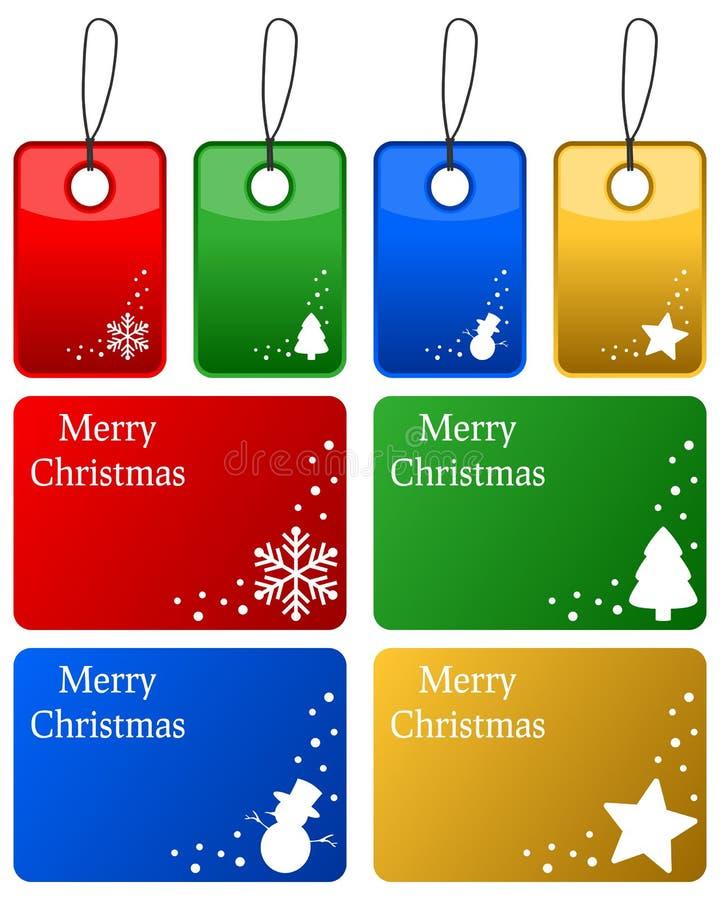 Ετικέττες δώρων Χριστουγέννων που τίθενται διανυσματική απεικόνιση
