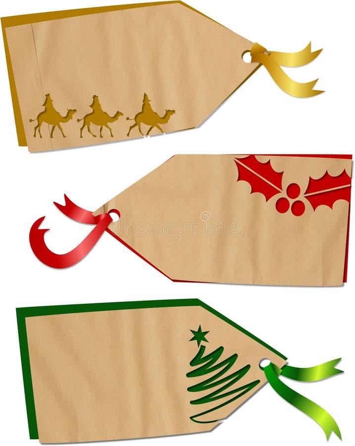 Ετικέττες διακοπών Χριστουγέννων ελεύθερη απεικόνιση δικαιώματος