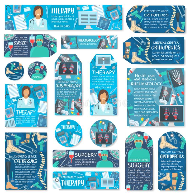 Ετικέττες ιατρικής και υγειονομικής περίθαλψης, ετικέτες με το γιατρό διανυσματική απεικόνιση