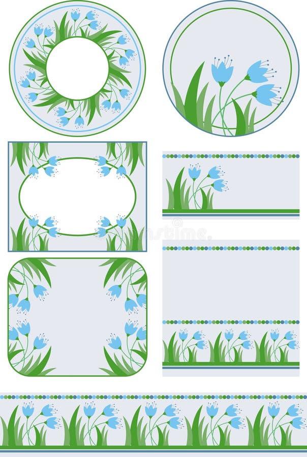 Ετικέττες και υπόβαθρα με τα floral μοτίβα απεικόνιση αποθεμάτων