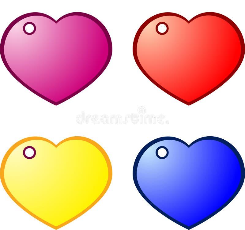ετικέττες καρδιών δώρων διανυσματική απεικόνιση