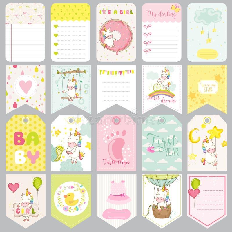 Ετικέττες μονοκέρων μωρών Εμβλήματα μωρών Ετικέτες λευκώματος αποκομμάτων Χαριτωμένες κάρτες διανυσματική απεικόνιση