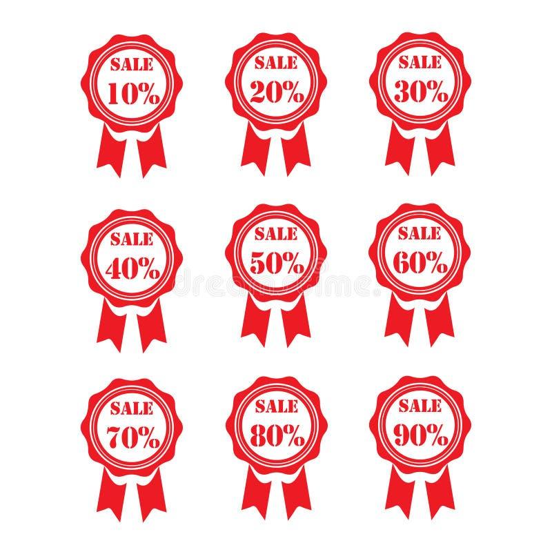 ετικέττες πώλησης μόδας εξαρτημάτων Εμβλήματα πώλησης Αγορές κορδέλλα σημάδι πώλησης 10% - 90% Κόκκινος στοκ φωτογραφία