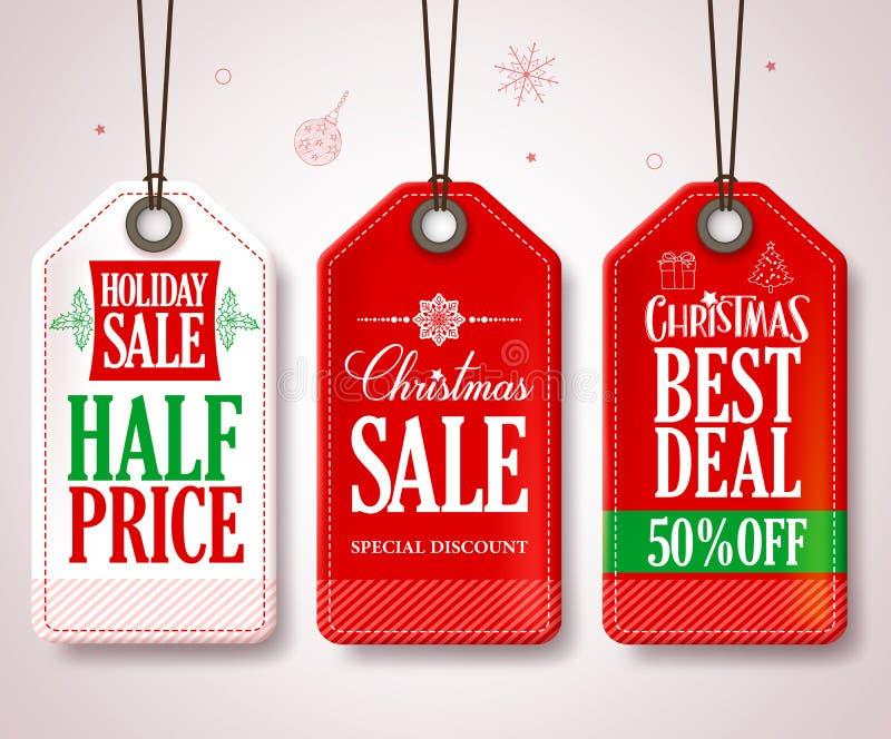 Ετικέττες πώλησης Χριστουγέννων που τίθενται για τις προωθήσεις καταστημάτων εποχής Χριστουγέννων διανυσματική απεικόνιση