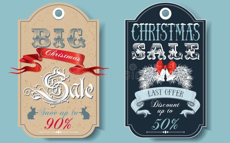 Ετικέττες πώλησης Χριστουγέννων διανυσματική απεικόνιση