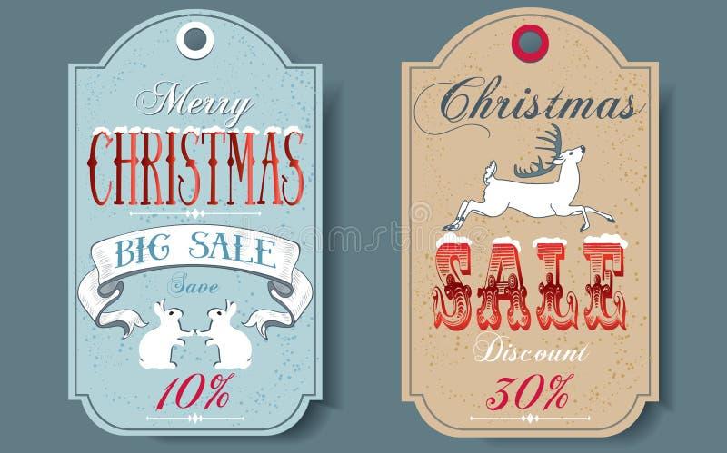 Ετικέττες πώλησης Χριστουγέννων απεικόνιση αποθεμάτων