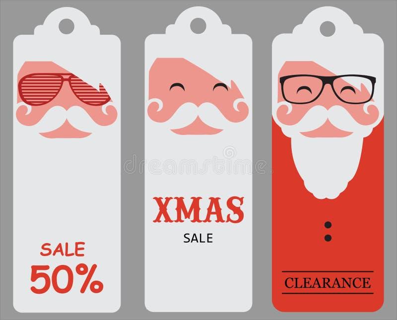 Ετικέττες πώλησης santa Χριστουγέννων hipster απεικόνιση αποθεμάτων