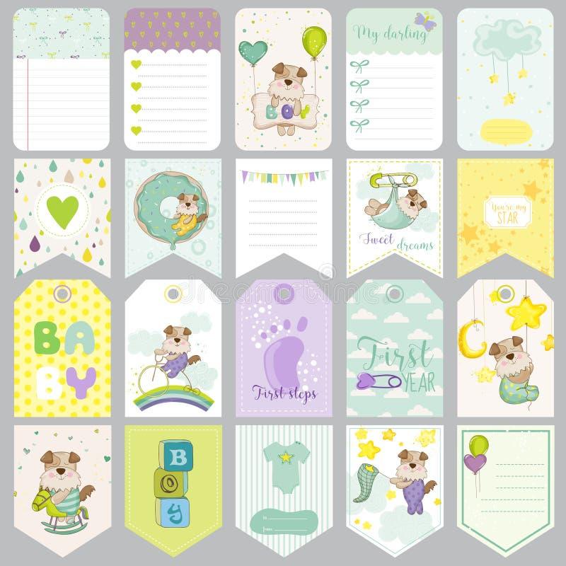 Ετικέττες σκυλιών μωρών Εμβλήματα μωρών Ετικέτες λευκώματος αποκομμάτων Χαριτωμένες κάρτες απεικόνιση αποθεμάτων