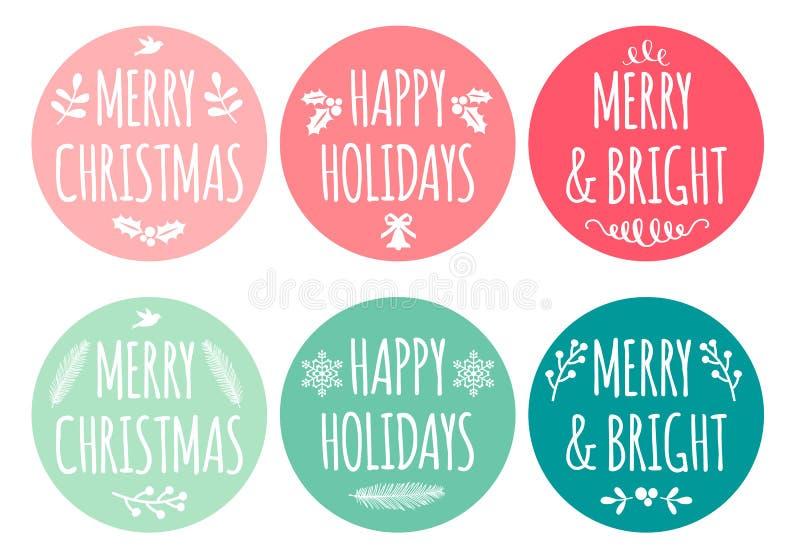 Ετικέττες Χριστουγέννων, διανυσματικό σύνολο ελεύθερη απεικόνιση δικαιώματος
