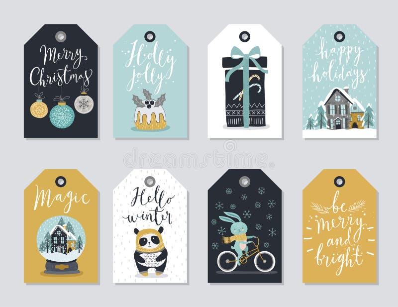 Ετικέττες Χριστουγέννων καθορισμένες, συρμένο χέρι ύφος απεικόνιση αποθεμάτων