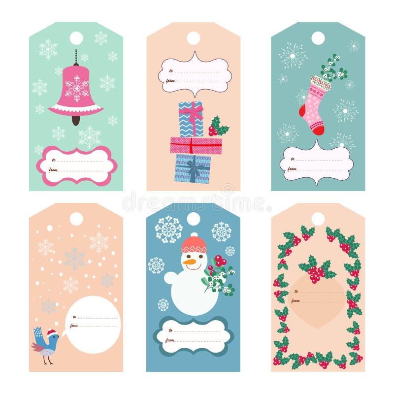 Ετικέττες Χριστουγέννων διανυσματική απεικόνιση