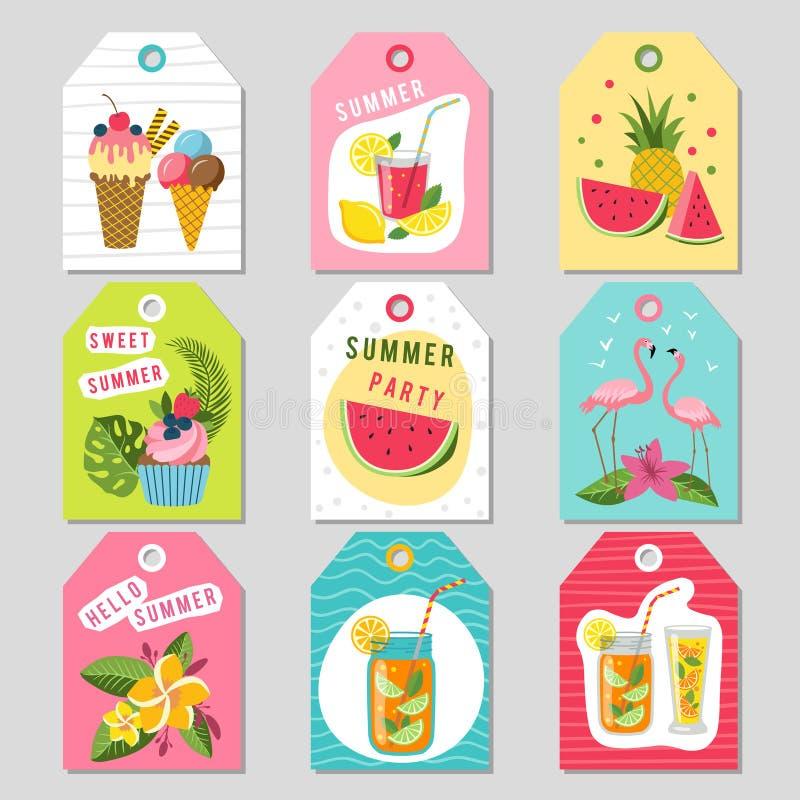 Ετικέττες δώρων με τη θερινή τροπική διακόσμηση Απεικονίσεις του καρπουζιού, της λεμονάδας, της φράουλας και άλλων φρούτων διανυσματική απεικόνιση