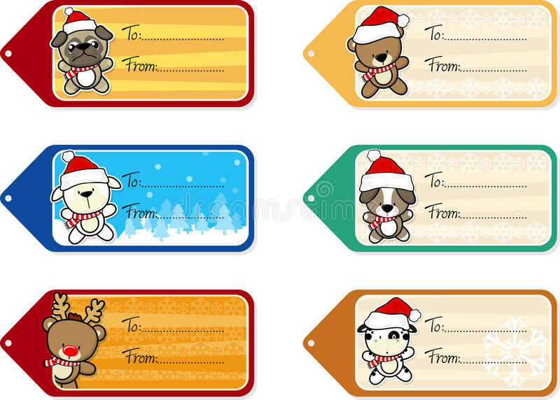 Ετικέττες δώρων Χριστουγέννων με τα χαριτωμένα ζώα μωρών διανυσματική απεικόνιση
