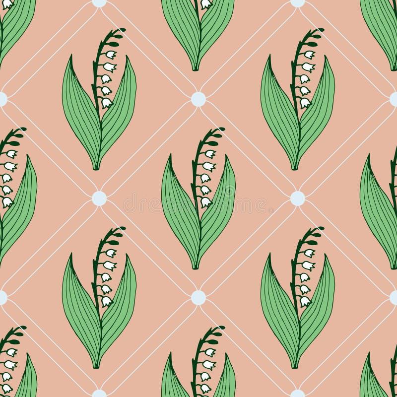 Ευγενές άνευ ραφής σχέδιο λουλουδιών με τον κρίνο της κοιλάδας απεικόνιση αποθεμάτων