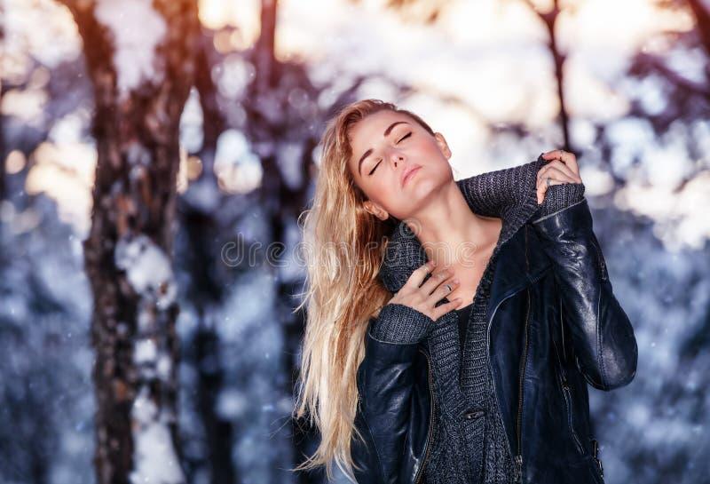 Ευγενές θηλυκό στο χειμερινό πάρκο στοκ εικόνες