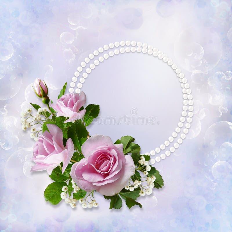 Ευγενές υπόβαθρο με τα τριαντάφυλλα και μαργαριτάρια με το διάστημα για το κείμενο ή τη φωτογραφία ελεύθερη απεικόνιση δικαιώματος