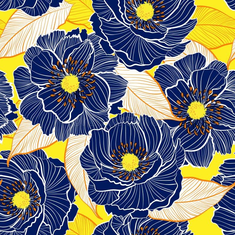 Ευγενής ανθίζοντας βοτανική όμορφη γραμμή σχεδίων χεριών σκούρο μπλε ελεύθερη απεικόνιση δικαιώματος