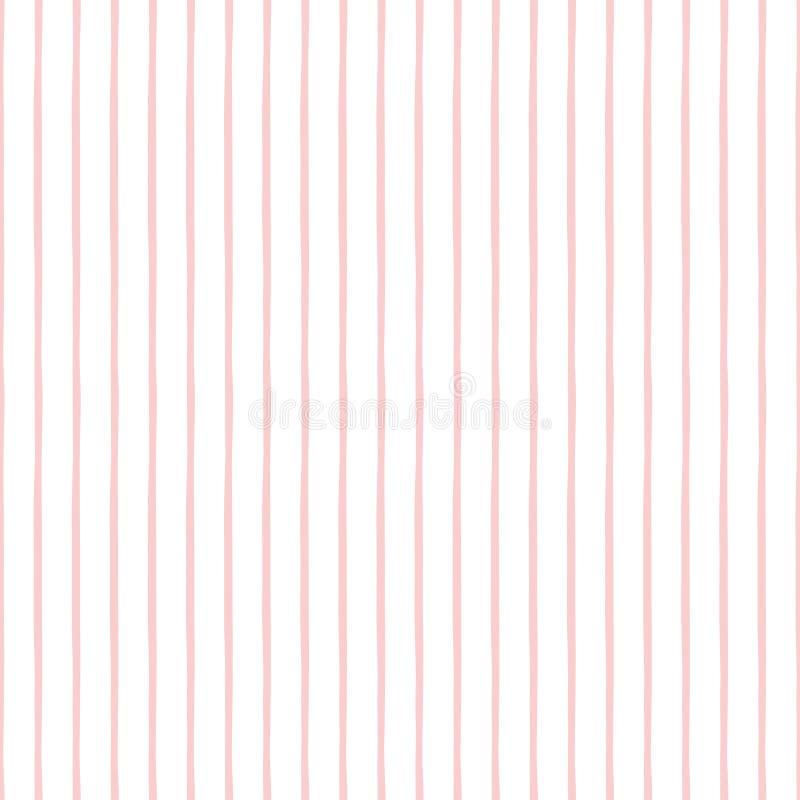 Ευγενείς ρόδινες κάθετες γραμμές backgound στο λεπτό διακοσμητικό διανυσματικό άνευ ραφής σχέδιο χρώματος μωρών ελεύθερη απεικόνιση δικαιώματος