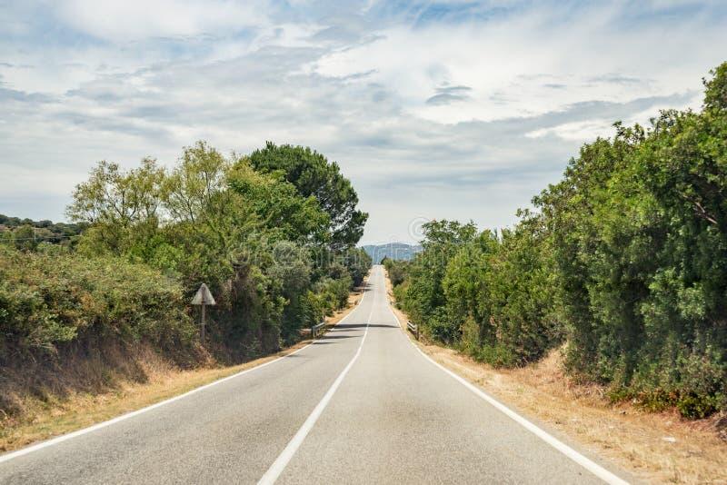 Ευθείς δρόμος ασφάλτου, δέντρα και θάμνοι στην πλευρά του δρόμου στο χωριό Oliena, Σαρδηνία, Ιταλία στοκ εικόνα με δικαίωμα ελεύθερης χρήσης