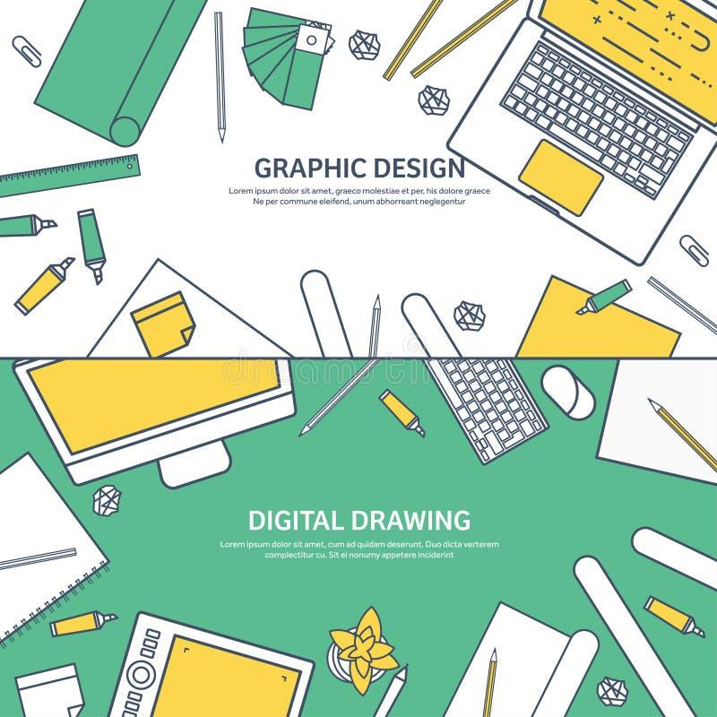 Ευθυγραμμισμένος, επίπεδο γραφικό σχέδιο Ιστού ouline Σχεδιασμός και ζωγραφική ανάπτυξη Απεικόνιση και σκιαγράφηση, ανεξάρτητες χ ελεύθερη απεικόνιση δικαιώματος