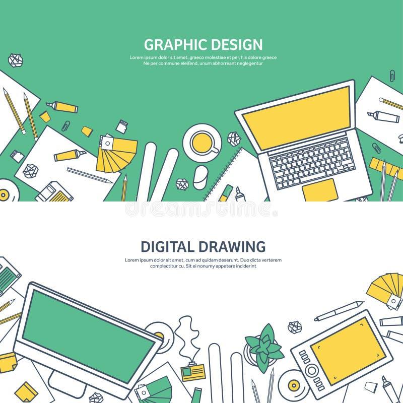 Ευθυγραμμισμένος, επίπεδο γραφικό σχέδιο Ιστού ouline Σχεδιασμός και ζωγραφική ανάπτυξη Απεικόνιση και σκιαγράφηση, ανεξάρτητες χ απεικόνιση αποθεμάτων