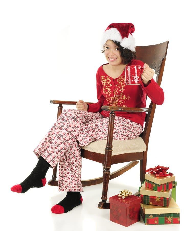 Ευθυμίες Χριστουγέννων με την καυτή σοκολάτα στοκ φωτογραφία