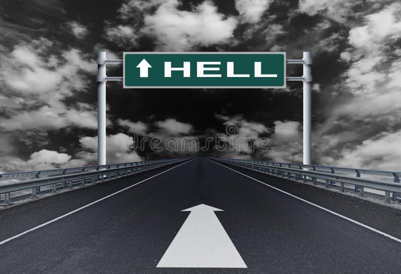 Ευθύς αυτοκινητόδρομος με μια κόλαση κειμένων στο οδικό σημάδι στοκ φωτογραφία με δικαίωμα ελεύθερης χρήσης