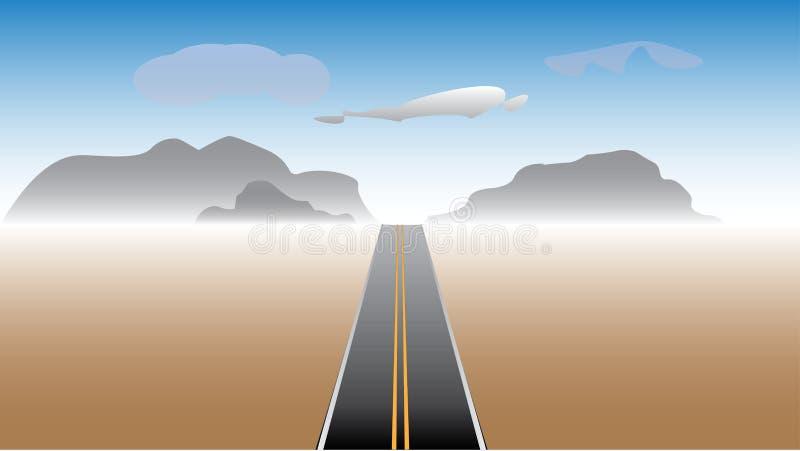 Ευθύς δρόμος που οδηγεί στα βουνά μέσω της ερήμου απεικόνιση αποθεμάτων
