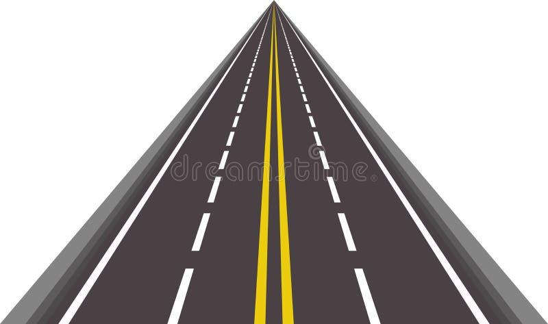 ευθύ διάνυσμα ασφαλτωμένων δρόμων διανυσματική απεικόνιση