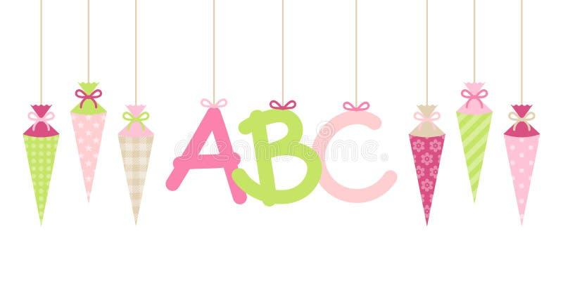 Ευθύ κρεμώντας ροζ επιστολών κοριτσιών σχολικών κορνετών εμβλημάτων και ABC πράσινο ελεύθερη απεικόνιση δικαιώματος