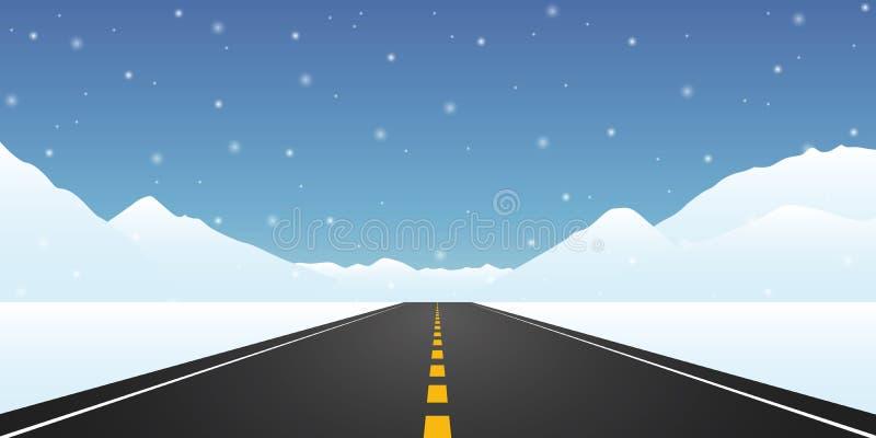 Ευθύ τοπίο χειμερινού ταξιδιού ασφαλτωμένων δρόμων διανυσματική απεικόνιση