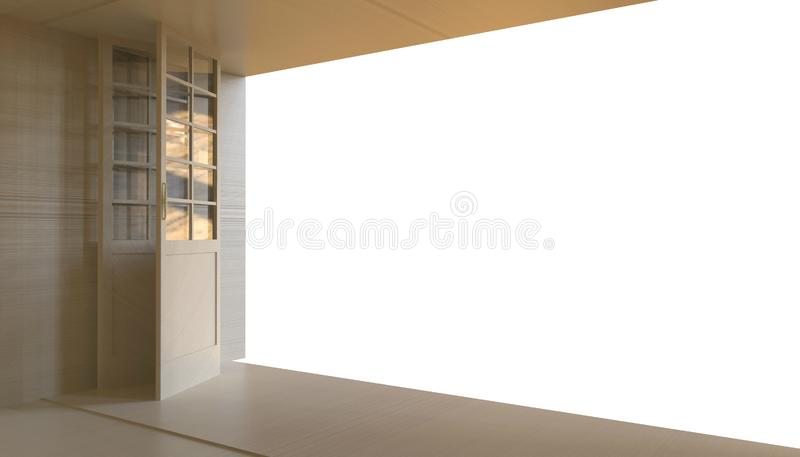 Ευκαιρία επιχειρησιακής ελευθερίας πορτών και φουτουριστικές άσπρες υπόβαθρο/έννοια και δημιουργικότητα/ στοκ φωτογραφία