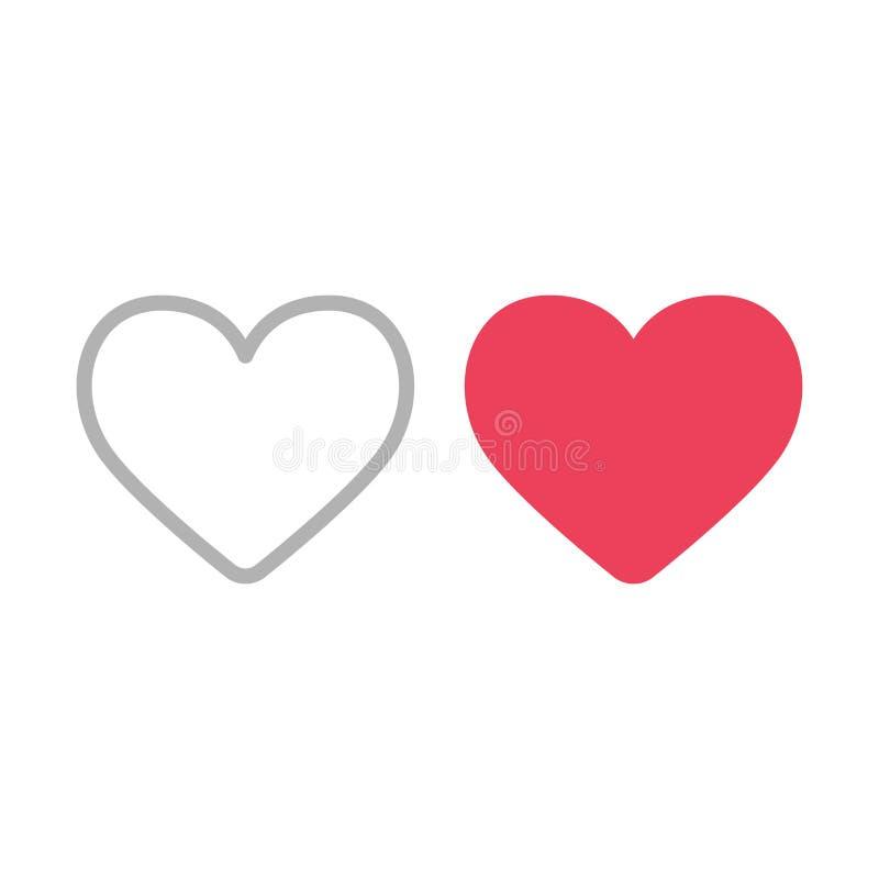 λευκό απεικόνισης εικονιδίων καρδιών ανασκόπησης Γεμισμένος και περίληψη όπως τα σύμβολα απεικόνιση αποθεμάτων