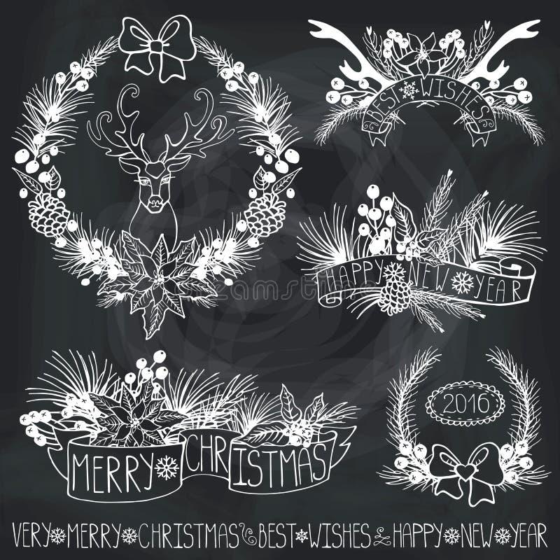 λευκό απομόνωσης ντεκόρ Χριστουγέννων Κλάδοι, puansetiya, κορδέλλες chalkboard διανυσματική απεικόνιση