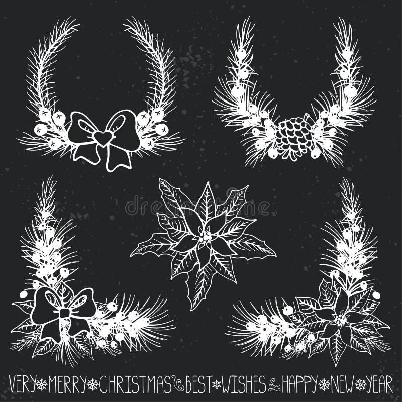 λευκό απομόνωσης ντεκόρ Χριστουγέννων Κλάδοι, puansetiya, τόξα chalkboard απεικόνιση αποθεμάτων