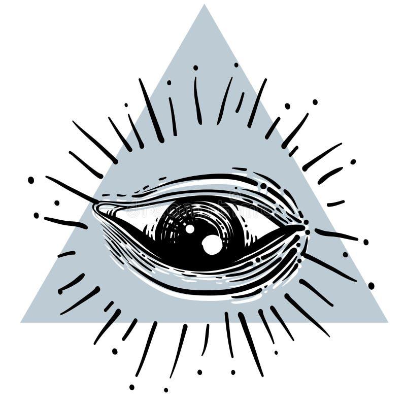 λευκό ασπίδων πρόνοιας ματιών ανασκόπησης Μασονικό σύμβολο Όλοι που βλέπουν το μάτι μέσα στο triangl ελεύθερη απεικόνιση δικαιώματος